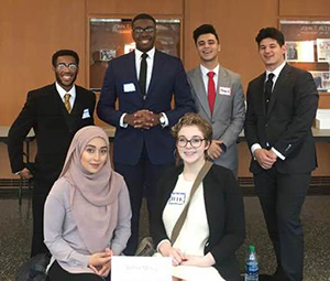 Detroit Mercy's team at the 2018 Regional Ethics Bowl Competition.