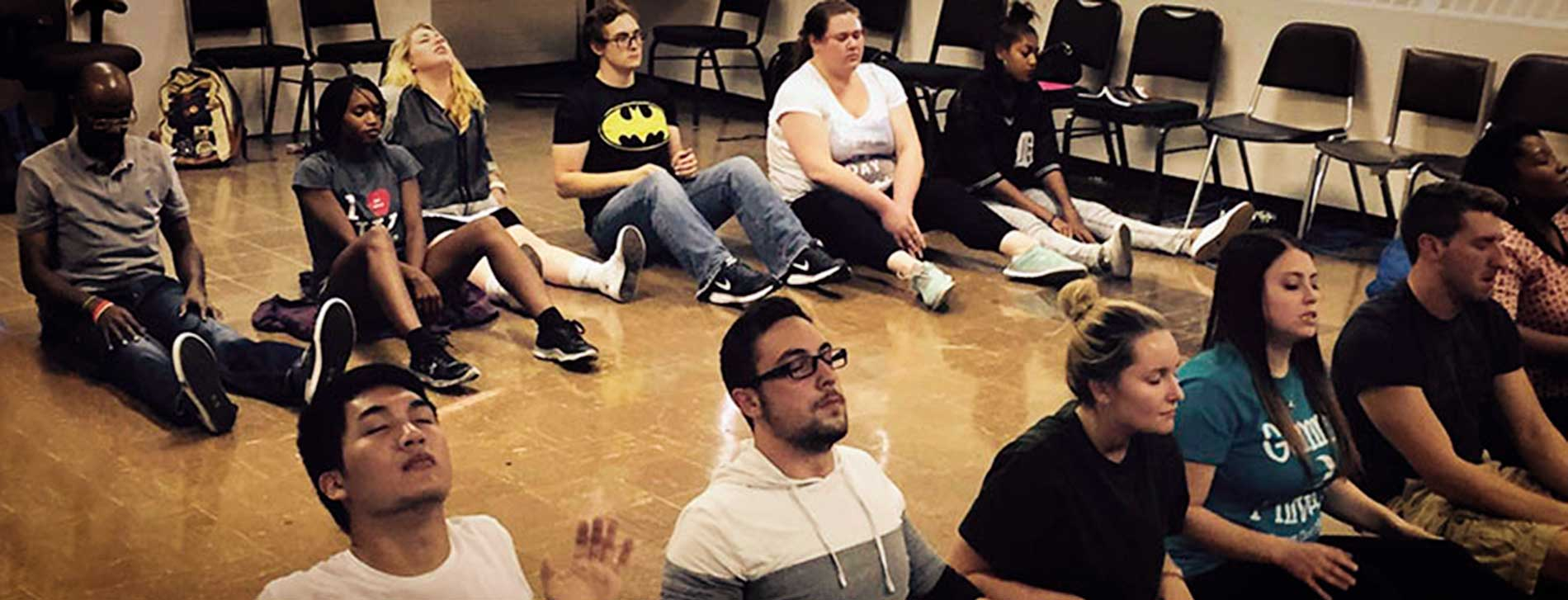 Detroit Mercy theatre students practice feeling emotions in acting